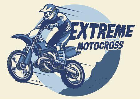 Ilustración de jumping motocross rider on his motorcycle - Imagen libre de derechos