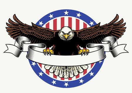 Illustration pour american bald eagle with flag background - image libre de droit