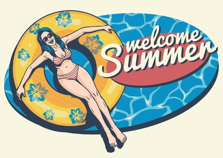 Ilustración de summer design with girl on float at the pool - Imagen libre de derechos