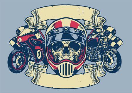 Illustration pour vintage t-shirt design of skull motorcycle rider - image libre de droit