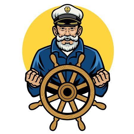 Illustration pour happy old sailor hold the ship wheel - image libre de droit