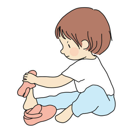 Ilustración de Vector illustration of little toddler sitting on floor and trying to put on his own shoes. Early childhood development, education, learning, dressing skill concept. Cartoon character drawing. - Imagen libre de derechos