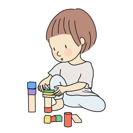 Ilustración de Vector illustration of little kid playing building wooden blocks by staking, assembling. Early childhood development activity, education and learning concept - construction block, constructive play. - Imagen libre de derechos