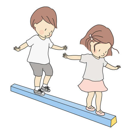 Illustrazione per Vector illustration of little kids, boy and girl, playing balance beam. Early childhood development activity, education and learning concept. - Immagini Royalty Free