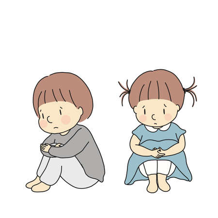 Illustration pour Vector illustration of little kids hugging knees, feeling sad and anxious. Child emotion problem concept. Cartoon character drawing. - image libre de droit
