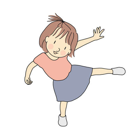 Ilustración de Vector illustration of little playful kid girl standing on one leg. Early childhood development, happy children day card, child playing concept. Cartoon character drawing. - Imagen libre de derechos