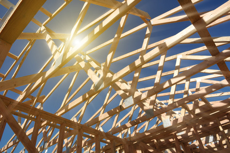 Photo pour New Home Under Construction with Sunlight - image libre de droit