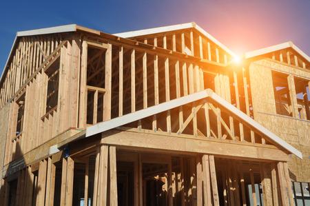 Photo pour Home Under Construction with Sunlight - image libre de droit