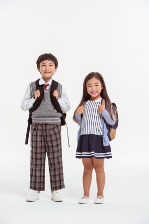 Photo pour Asian Family Portrait / Isolated on White - image libre de droit