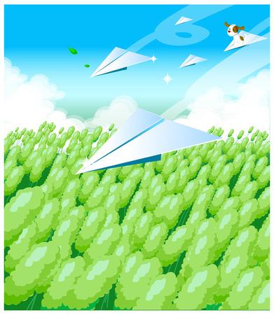 Illustration pour This illustration depicts a young child's dream world. - image libre de droit
