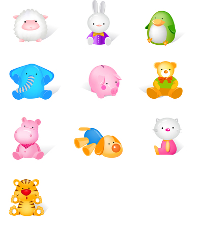 Illustration pour Different stuffed animals - image libre de droit