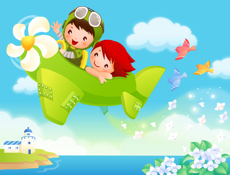Illustration pour Boy and a girl traveling in an airplane - image libre de droit