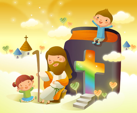 Illustration pour Jesus Christ sitting with two children and smiling - image libre de droit