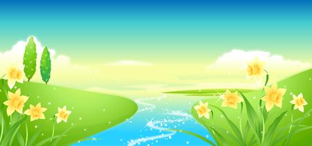Ilustración de River passing through a field - Imagen libre de derechos