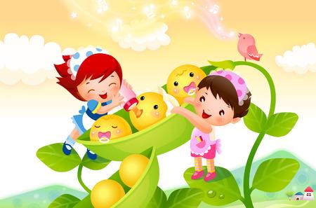 Illustration pour Close-up of two girls feeding milk to peas - image libre de droit