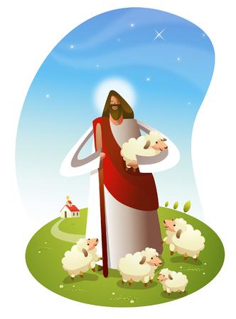 Illustration pour Jesus Christ standing with sheep - image libre de droit