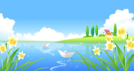 Ilustración de Paper boats floating on water - Imagen libre de derechos