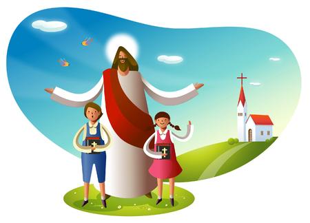 Illustration pour Jesus Christ standing with two children - image libre de droit