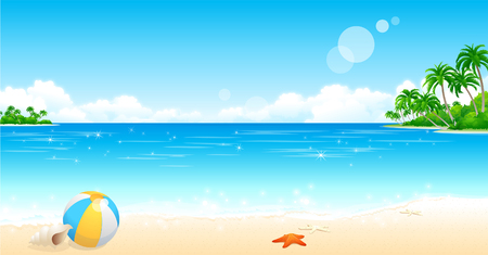 Ilustración de Beach ball on the beach - Imagen libre de derechos