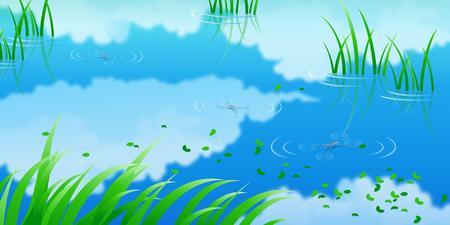 Ilustración de Refection of clouds in water - Imagen libre de derechos