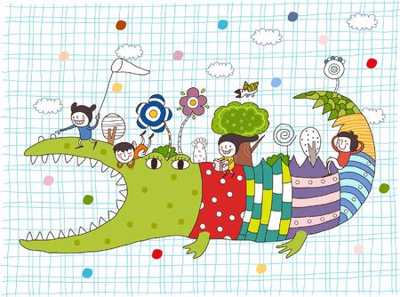 Illustration pour Side view of children on crocodile back - image libre de droit