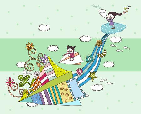Illustration pour Children playing with kite - image libre de droit