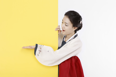 Photo pour korea traditional clothing, hanbok- Isolated on studio shot - image libre de droit