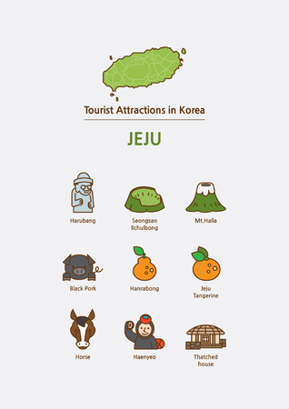 Illustration for Tourist attractions icon illustration - Jeju Island, Soth Korea - Royalty Free Image