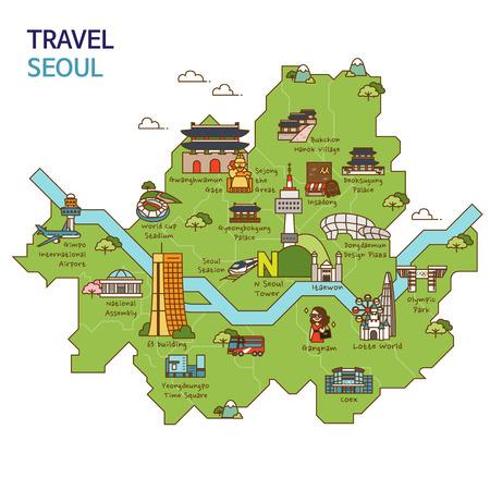 Illustration pour City tour,travel map illustration - Seoul City, South Korea - image libre de droit