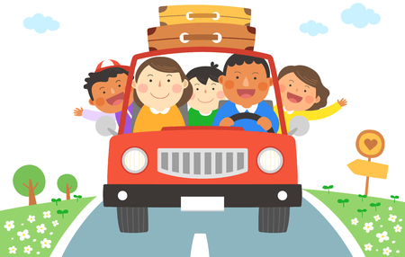 Illustration for Interracial, intercultural family illustration - family car road trip - Royalty Free Image