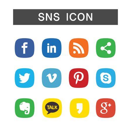 Ilustración de SNS Icon set, ensemble illustration in white background isolated - Imagen libre de derechos