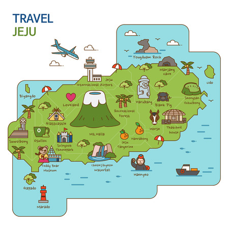 Illustration for City tour,travel map illustration - Jeju Island, South Korea - Royalty Free Image