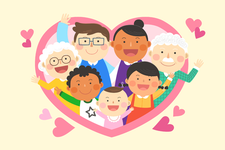 Illustration for Interracial,intercultural family illustration - three generation family in heart frame - Royalty Free Image