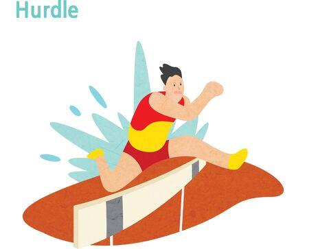 Ilustración de Young athlete jumping over a hurdle - Imagen libre de derechos