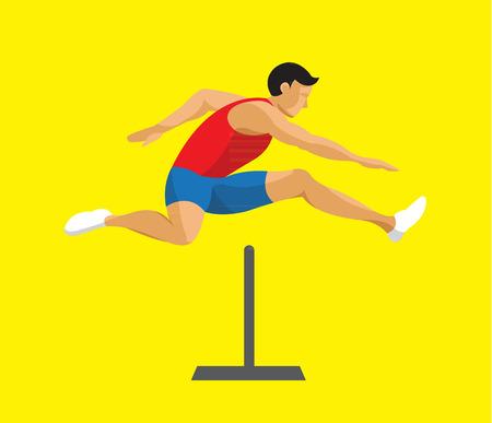 Ilustración de Man jumping hurdle flat design - Imagen libre de derechos