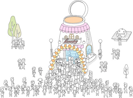 Illustration pour Cosmetic store is crowded with people - image libre de droit