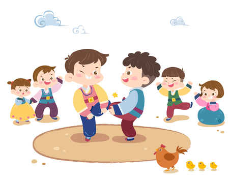Illustration for Children playing Korea traditional game - Royalty Free Image