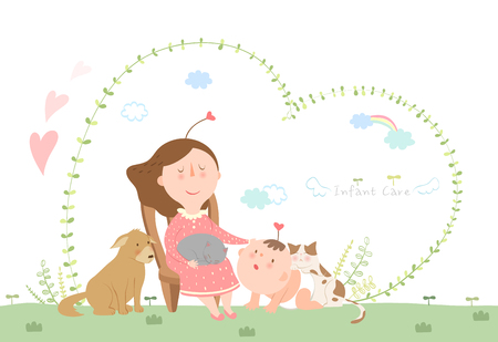 Illustrazione per Mother taking care of infant baby - Immagini Royalty Free