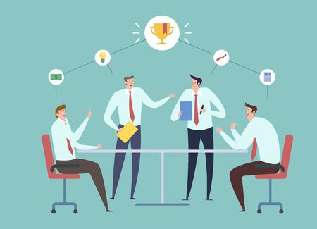 Illustration pour Businessmen having meeting - image libre de droit