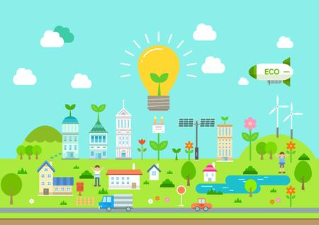 Illustration pour Eco friendly city flat design - image libre de droit