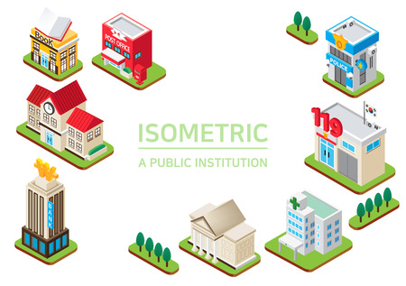 Illustration pour Isometric city - Concept of isometric object, set of the isometric vector illustration - image libre de droit
