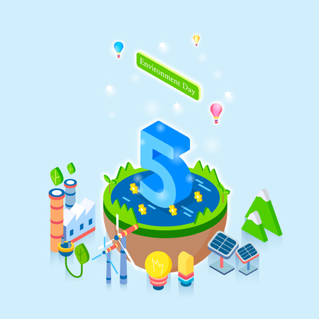 Ilustración de Concept for special day celebrations. 3D isometric illustration style. 004 - Imagen libre de derechos
