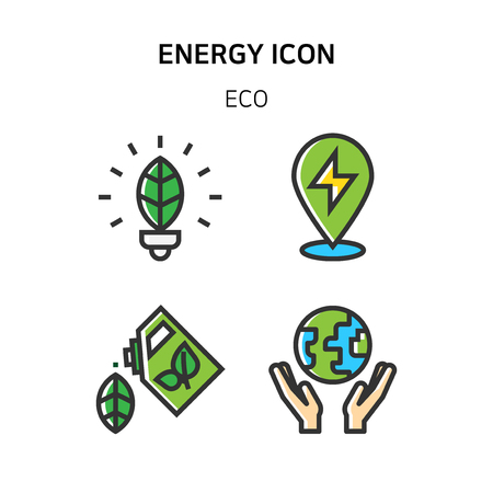 Ilustración de Set of Icon for eco energy, build, bitcoin and IoT industry. 003 - Imagen libre de derechos