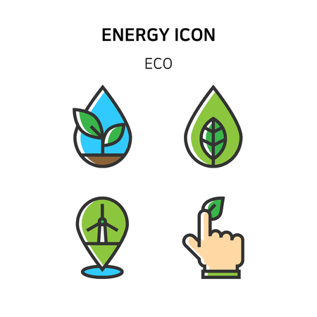 Ilustración de Set of Icon for eco energy, build, bitcoin and IoT industry. 002 - Imagen libre de derechos