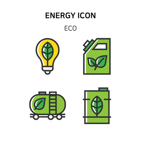 Ilustración de Set of Icon for eco energy, build, bitcoin and IoT industry. 004 - Imagen libre de derechos