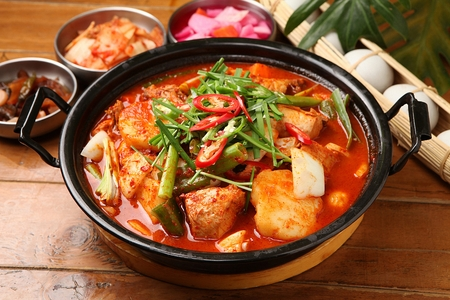 Photo for Korean-style braised Spicy Chicken with Vegetables - Royalty Free Image