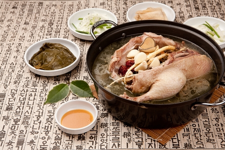Photo for Korean cuisine duck baeksuk, Boiled duck soup with Korean medicinal herbs - Royalty Free Image