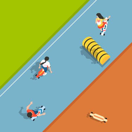 Ilustración de Aerial view of sport games in flat design style illustration - Imagen libre de derechos
