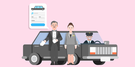 Ilustración de Searching and Booking, Holidays and Traveling app concept vector illustration in flat style - Imagen libre de derechos