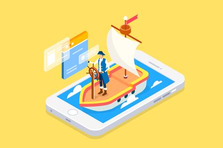 Illustration pour Wireless technology and mobile devices life concept flat 3d isometric infographic vector illustration. - image libre de droit